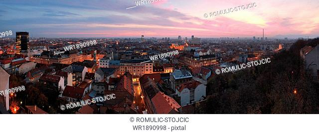 Zagreb city at sunset, Croatia