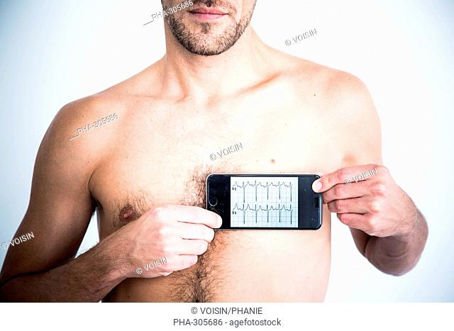 Man using health application on his Iphone®