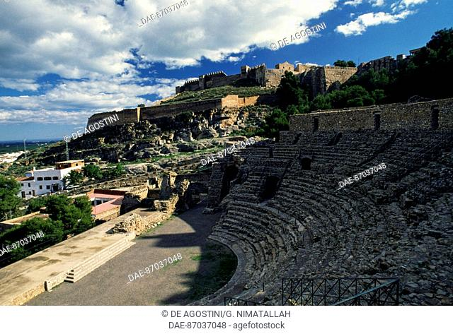 View of the Roman Theatre, 50 AD, and the Castle of Sagunto, Valencia, Spain