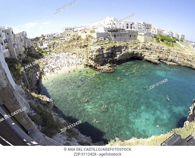 Monachile beach in Polignano al Mare on July 12, 2018 in Puglia Italy