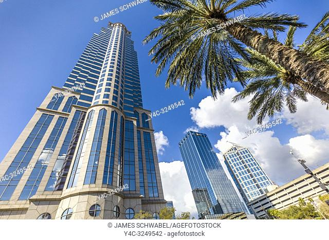 Tall buildings in downtown Tampa Florida on a bright sunny day