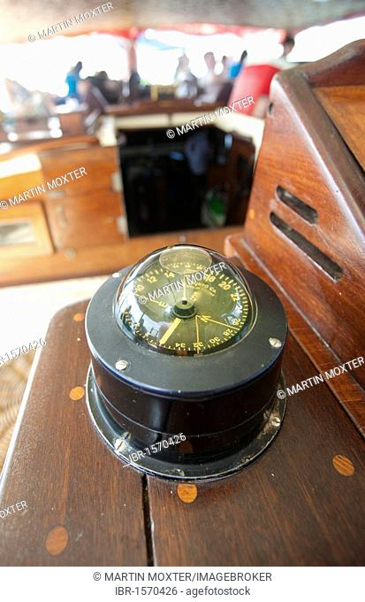 Compass at the helm of a junk, Phang Nga Bay, Phuket, Thailand, Southeast Asia, Asia