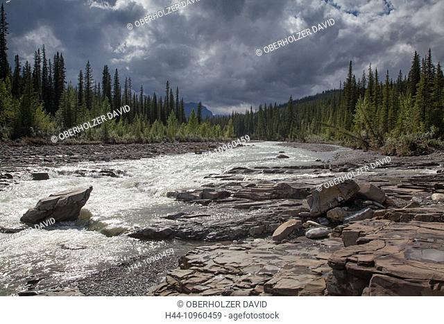 Alberta, Bighorn River, Crescent Falls, river, Canada, scenery, landscape, light, mood, North America, water, waterfall