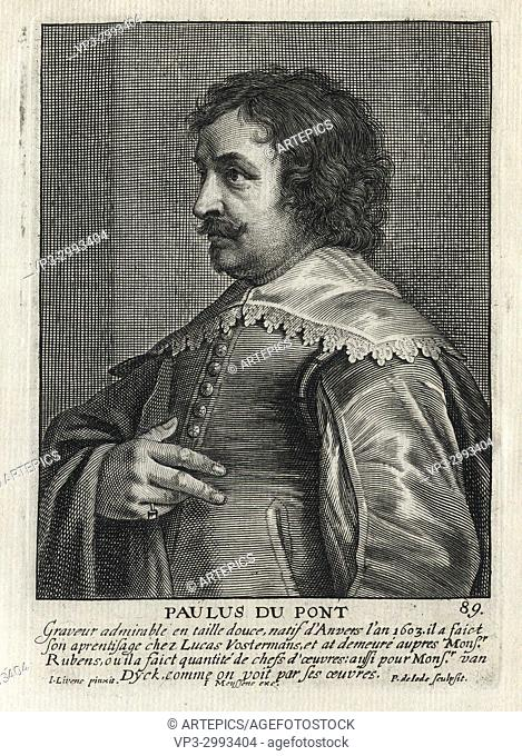PAULUS DU PONT - Woodcut portrait and short biography (old french language) - Engraving 17th century