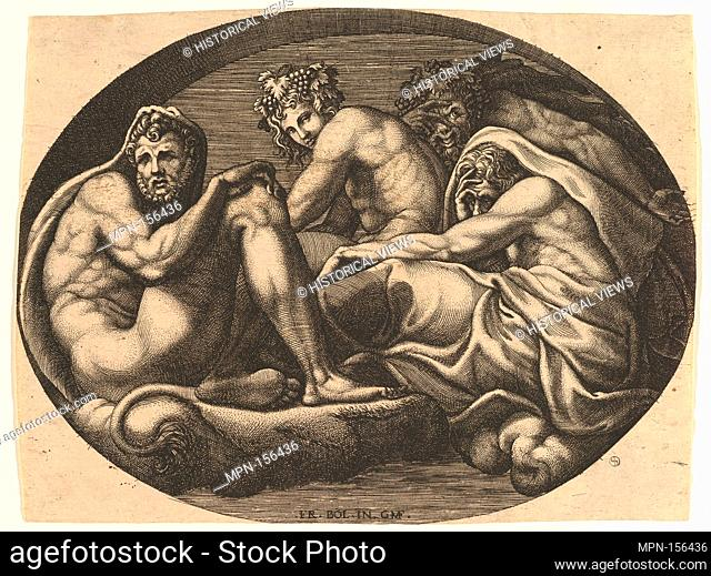 Hercules, Bacchus, Pan, and Saturn(?), from a series of eight compositions after Francesco Primaticcio's designs for the ceiling of the Ulysses Gallery...