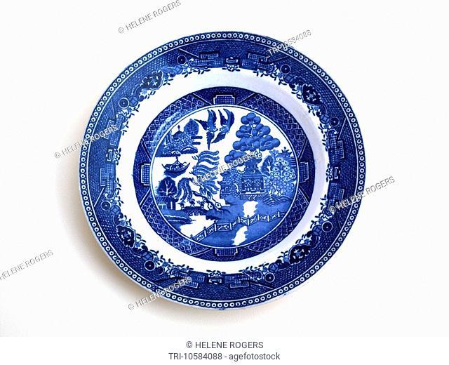 Willow Pattern Plate Blue & White China