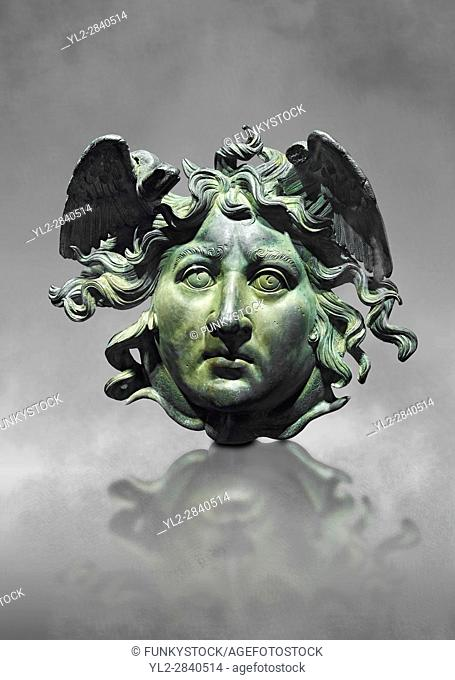 Roman decoration panel of Medusa from a Roman ship, the age of Calligula, 37-41 AD, made from bronze. The head of the medusa is an example of refined...