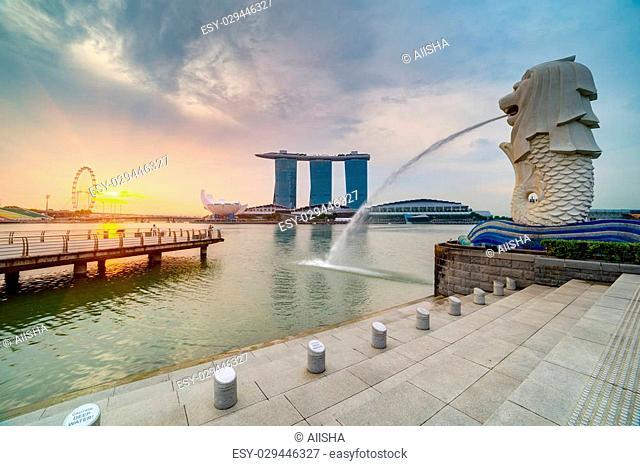 Sunrise at Marina bay in Singapore, April 2015