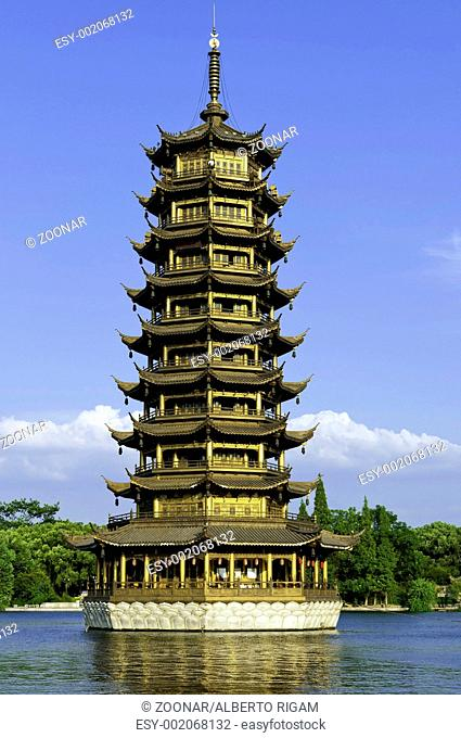 Guilin one of the golden twin pagodas temple in China