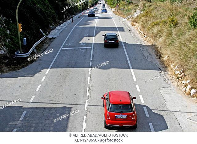 Road traffic, Ordal, Subirats, Catalonia