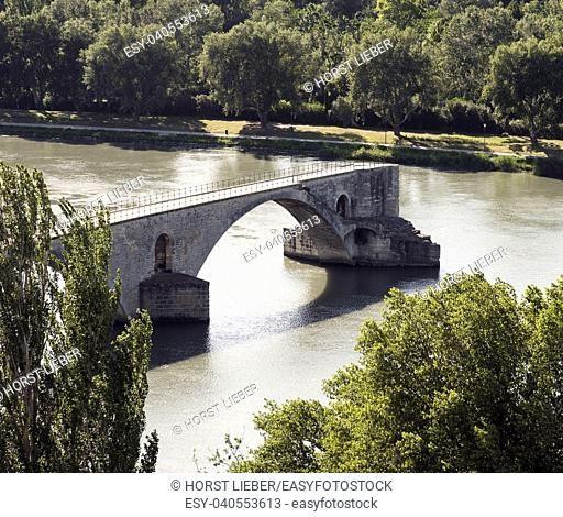 Bridge St. Benezet over the Rhone at Avignon. Vaucluse, Provence, France, Europe