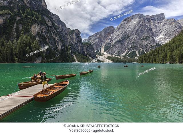 Lago di Braies, Prags, South Tyrol, Dolomites, Italy, Europe