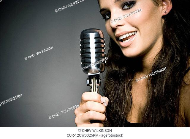 woman singing close-up
