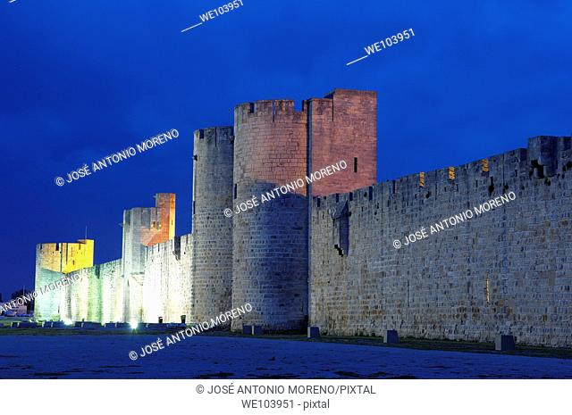 City walls at dusk, Aigues-Mortes, Petite Camargue, Gard, Languedoc-Roussillon, France