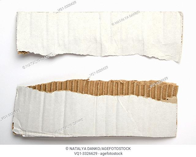 torn piece of paper from under the box in half on a white background, close up