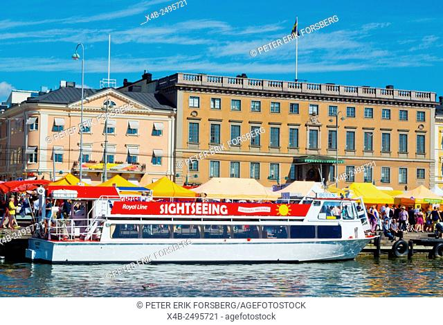 Cruise sightseeing boat for tourists, Kauppatori, market square, Helsinki, Finland, Europe