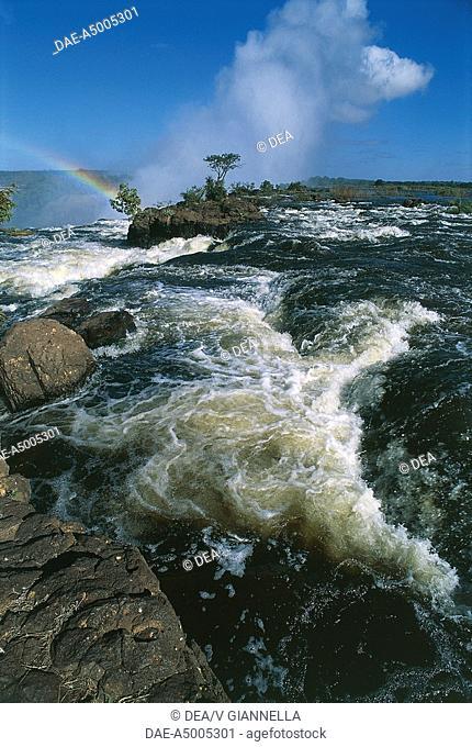Zambia - Mosi-oa-Tunya National Park - The course of Zambesi River near Vittoria Falls - Rainbow