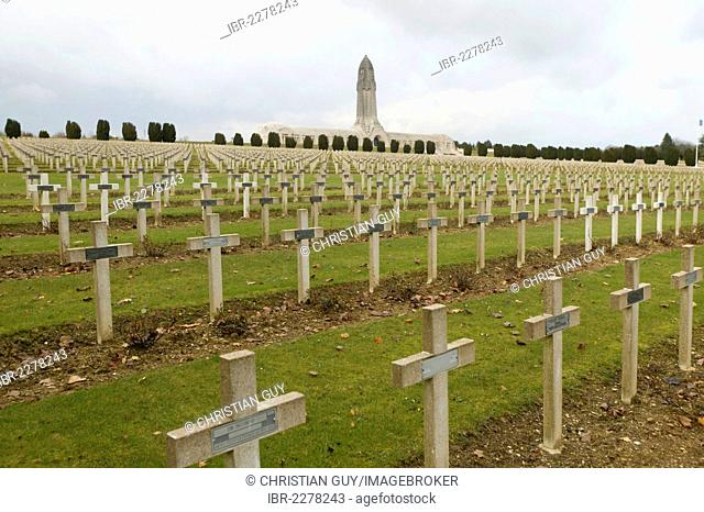 Military cemetery at Douaumont for soldiers who died in World War I, Verdun, Lorraine, France, Europe