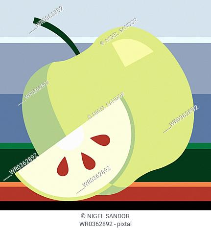 Green Apple with Slice