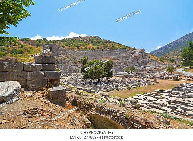 The ancient Greek-Roman city of Ephesus or Efes located near Selcuk town of Izmir Turkey