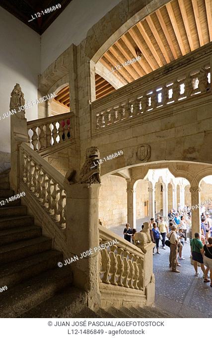 Casa de las Conchas, House of the shells, stair, Salamanca, Castilla y León, Spain
