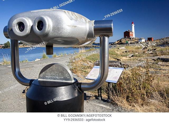 Spotting scope at Fisgard Lighthouse and Fort Rodd Hill, Victoria, Vancouver Island, British Columbia, Canada