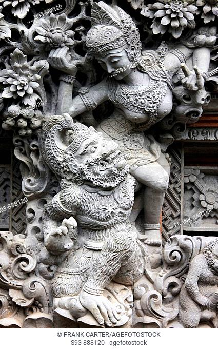 A sculture of   Balinese Hindu figures in Ubud, Ball