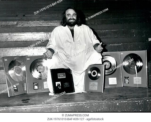 Oct. 10, 1976 - International singing star Demis Roussos is presented with Gold and Silver awards at the Royal Albert Hall: International singing star