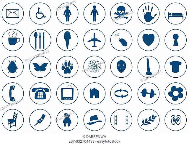 35 Various Blue Icons on white background