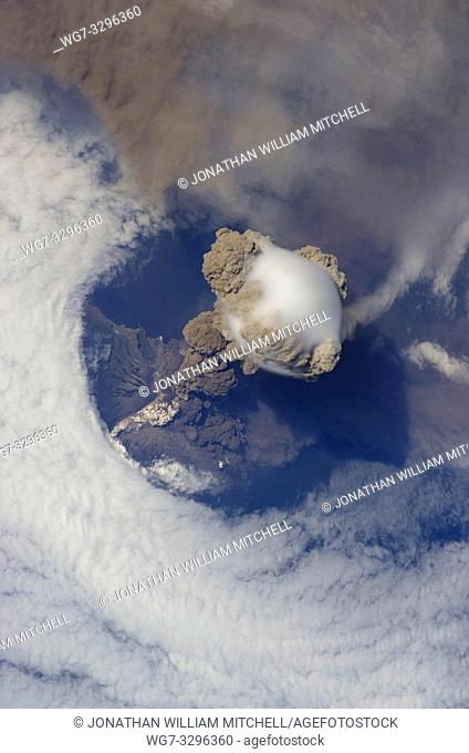 EARTH Aboard the International Space Station -- 12 Jun 2009 -- Sarychev Peak Volcano eruption, Kuril Islands, is featured in this image photographed by a crew...