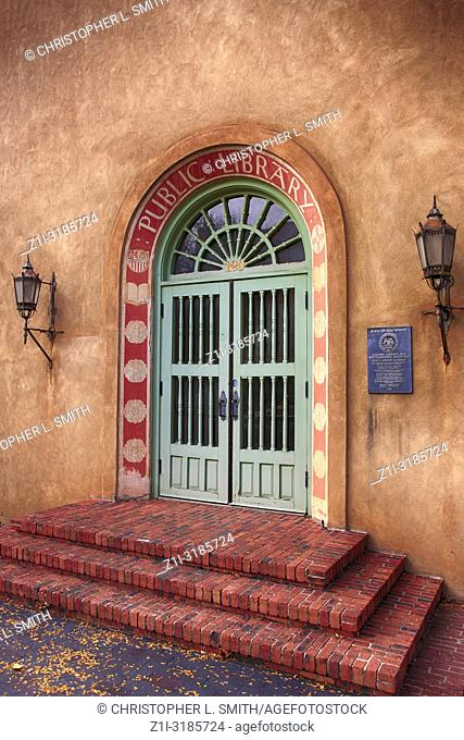Entrance to the old Public Library on Lincoln Ave in downtown Santa Fe, New Mexico USA