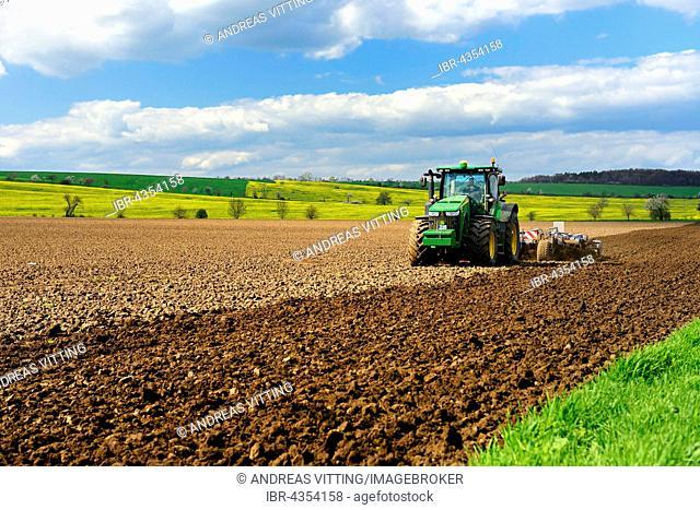 Tractor plowing field, Saxony-Anhalt, German