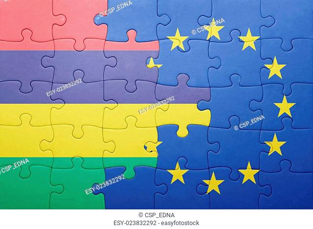 puzzle with the national flag of mauritius and european union