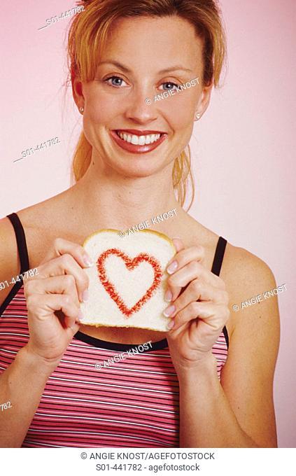 Woman loves carbs / bread