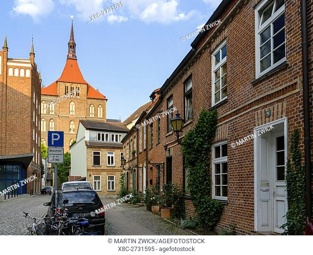 Church Marienkirche in brick gothic style, a landmark of Rostock. The hanseatic city of Rostock at the coast of the german baltic sea