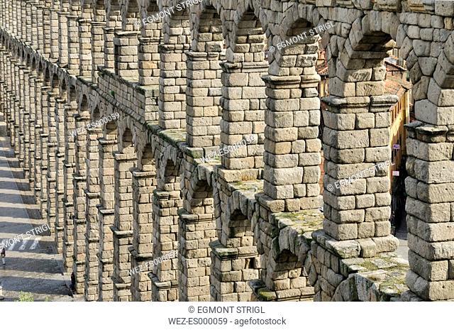 Europe, Spain, Castile and Leon, Segovia, View of roman aqueduct