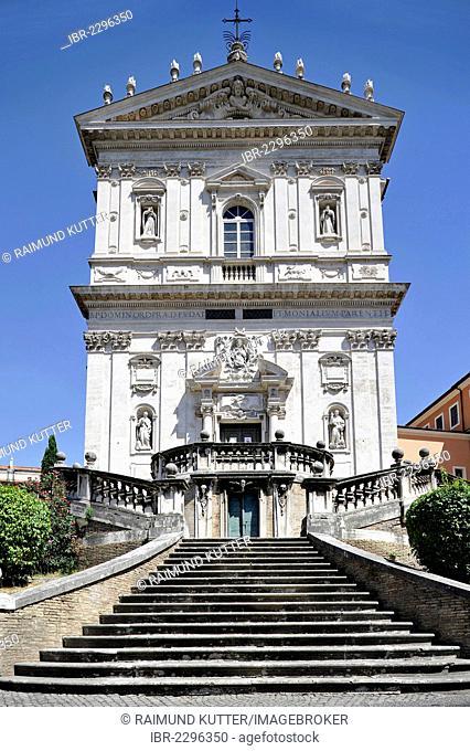 Monastery church of Santi Domenico e Sisto, facade and stairs by Vincenzo della Greca, Angelicum, Rome, Lazio region, Italy, Europe