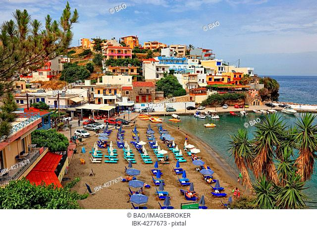 Beach with small harbour, Bali, Crete, Greece