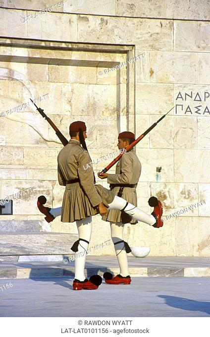 Syntagma,Syndagma square. Evzones soldier,guards. Marching with rifles