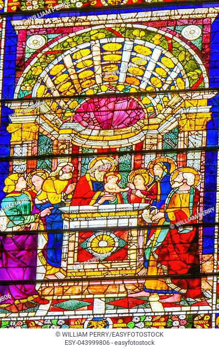 Baby Jesus Temple Stained Glass Chapel Santa Maria Novella Church Florence Italy. First Church in Florence founded 1357
