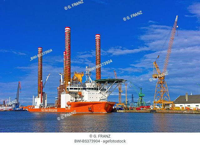 construction vessel for offshore wind farms in harbour, Germany, Bremerhaven