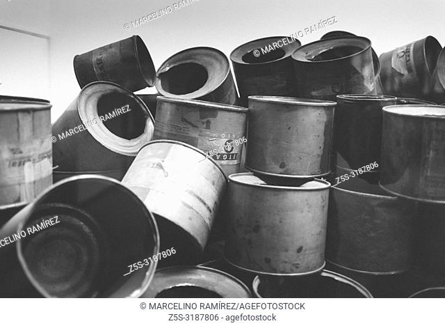 Auschwitz Nazi concentration and extermination camp. Zyklon B cans. Auschwitz, German-occupied, Poland, Europe