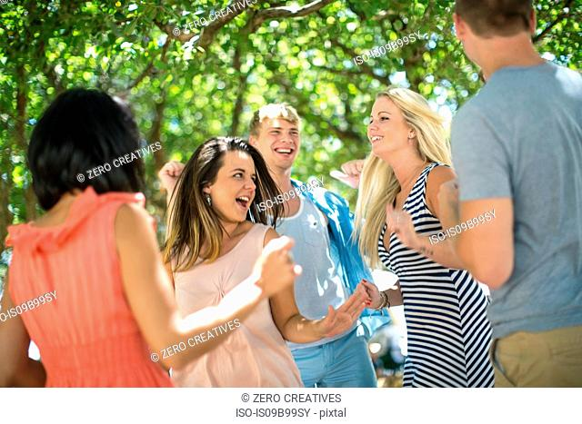 Adult friends dancing at beach party