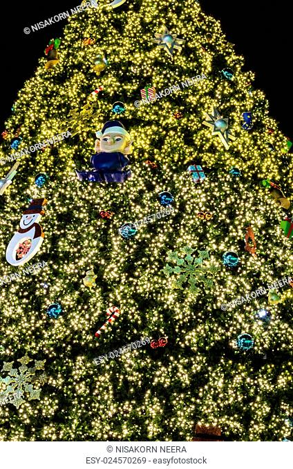 christmas festival with decorate Christmas tree lighting