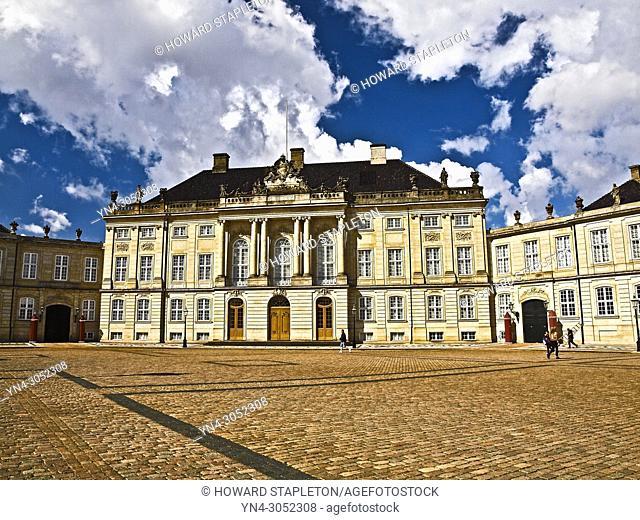 Amalienborg Palace Copenhagen. Denmark. The Danish royal family resides inside the palace