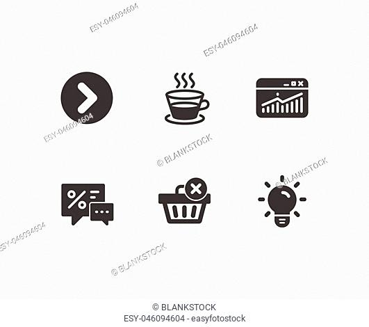 Set of Coffee cup, Discounts and Website statistics icons. Delete purchase, Forward and Light bulb signs. Tea mug, Best offer, Data analysis
