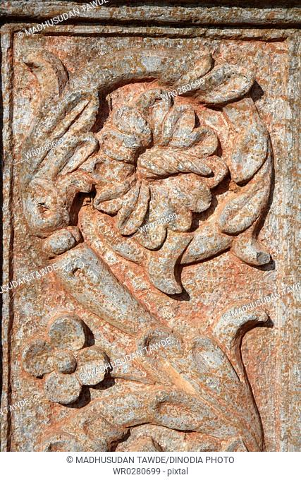 Stone carving with flower design in church of St. Augustine , UNESCO World Heritage , Old Goa , Velha Goa , India