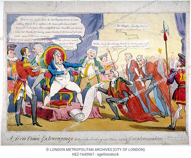 'A serio comic extravaganza..', 1820. George IV seems to be dismissing a petition from the Lord Mayor, John Thomas Thorp