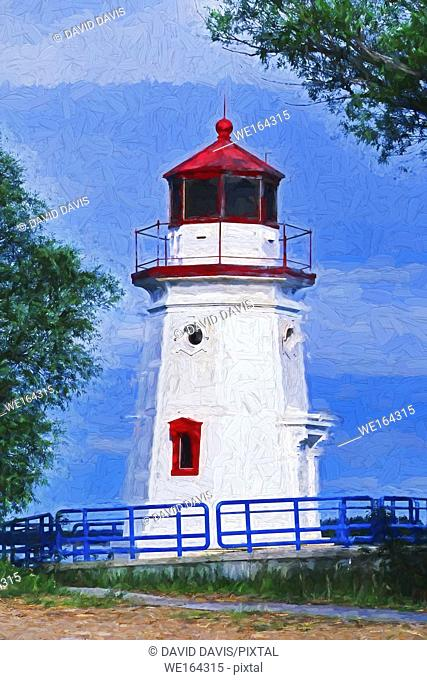Impressionist painting of Cheboygan Crib Light Built in 1884, moved in 1988 to a city park. Lake Huron, Michigan USA