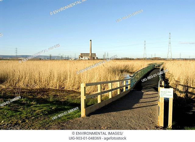 Wetlands with board walk in wetland habitat created from power station ash lagoons